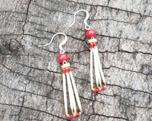 Porcupine quills jewelry, earrings porcupine quills, native american style, natural quills earrings, red beads, ooak gift, southwest art Q12