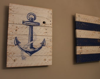 Nautical Anchor Duo (Distressed Anchor Reclaimed Pallet Wood Sign Painting)