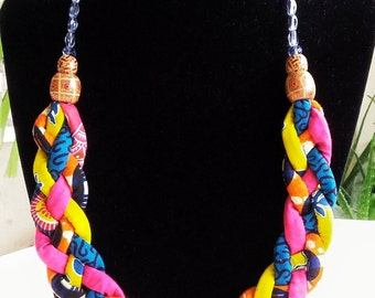 Ethnic Jewellery, African Necklace, Ankara Jewellery, Tribal Necklace, Fabric Necklace, Easter Gift, Multicolour Jewellery,Women's Accessory