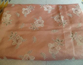 Vintage Mid Century Fiberglass Curtain Drape Panel Fabric Yardage~Lovely Salmon Pink with Flocked Flowers BTY