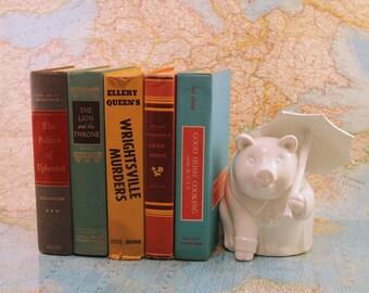 Vintage Book Set - Colorful Books - Antique Book Set - Book Decor - Centerpiece - Bookshelf - Instant Library - Book Stack - Ellery Queen