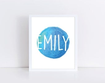 Emily Sign, Nursery Monogram, INSTANT DOWNLOAD, Printable Wall Art, Emily Printable, Custom Name Print, Baby Name Download, Name Art, Blue
