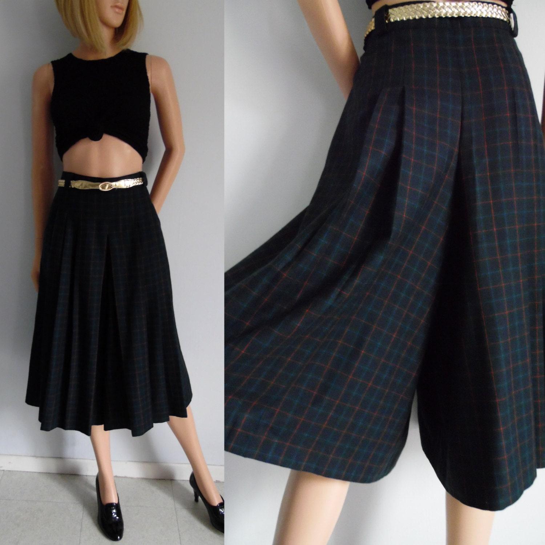 plaid culottes skirt navy blue green tartan by