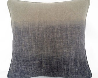 Triple Color Ombre Linen Decorative Pillow with Pewter and Violet Dip-Dyed Blend