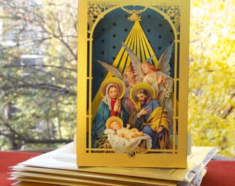 Pop Up Christmas Card, Pop up card, Christmas Card, Nativity Scene Christmas, Jesus Birth, Baby Jesus Pop up Crib Christmas Gift Tunnel Card