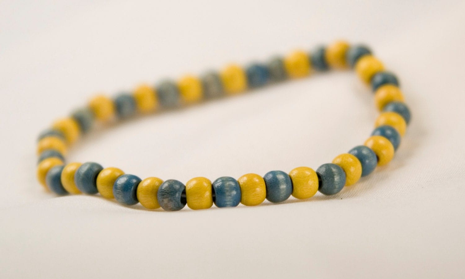blue yellow wood bead bracelet of michigan