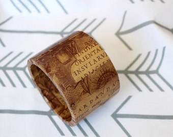 Decoupage Wood Bangle, Wood Bracelet, Wooden bangle, Wood jewelry, Ancient map, paper wrapped wood bracelet