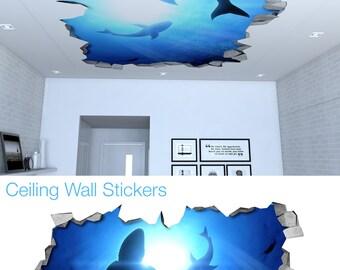 Ceiling - Ceiling Decal - Ceiling Decor - Ceiling Decoration - Celing Art - Ceiling Nursery - Ceiling Stencil - Sharks - SKU:SHKCL3D
