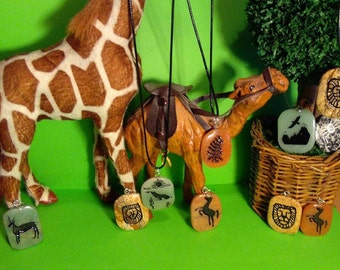 Spirit Animal Totem Carved Pendant Necklaces Suspended From 18'' black cords!