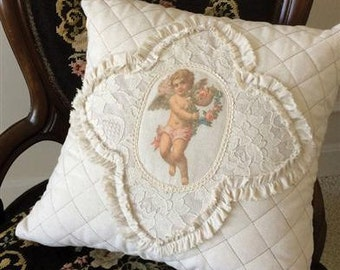 Natural Cotton Lace Ruffles Pillow Cushion Cover With Baby Cherub