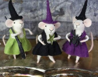 Miniature Halloween Mice in Witch Outfits