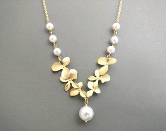 Orchid, Flower, Pearl, Gold, Silver, Necklace, Beautiful, Orchid, Necklace, Wedding, Engagement, Anniversary, Party, Gift, Jewelry