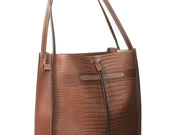 Sale: 15% off. Brown genuine leather brown tote bag, ladies leather bag, vegetable tanned leather tote bag