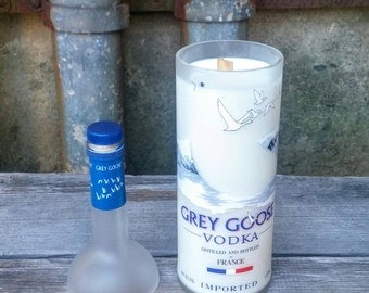 Recycled Glass Grey Goose Vodka Bottle Soy Candle