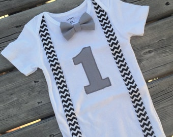 Baby Boy Outfit, Onesie with Suspenders and Bowtie, Personalized Outfit