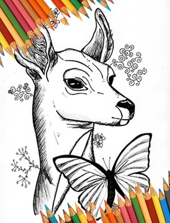 Life Is Strange Coloring Page Blue Butterfly Deer Chloe Max Photography Animals Nature Video Game Instant Download Illustration Zen Yoga