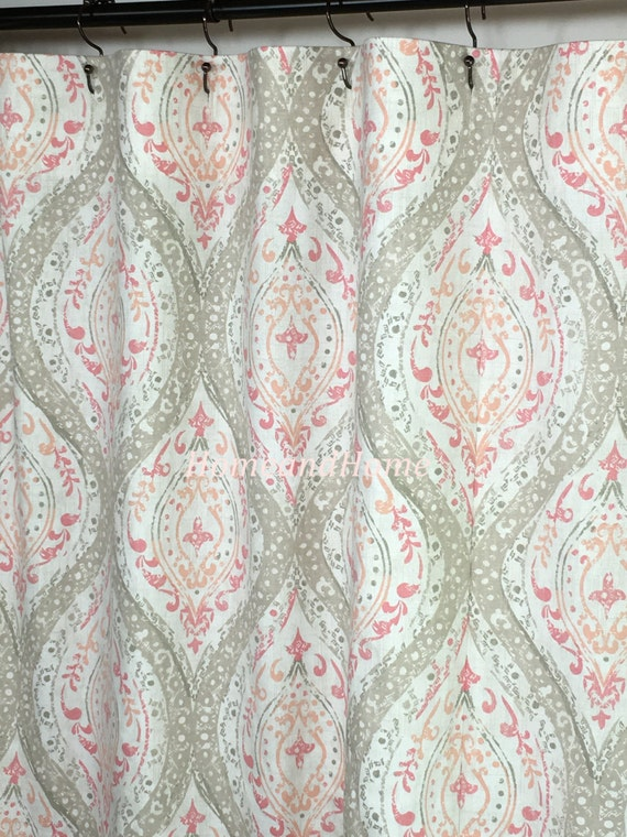 Fabric Shower Curtain Ariana Coral Ivory Tan Pink By