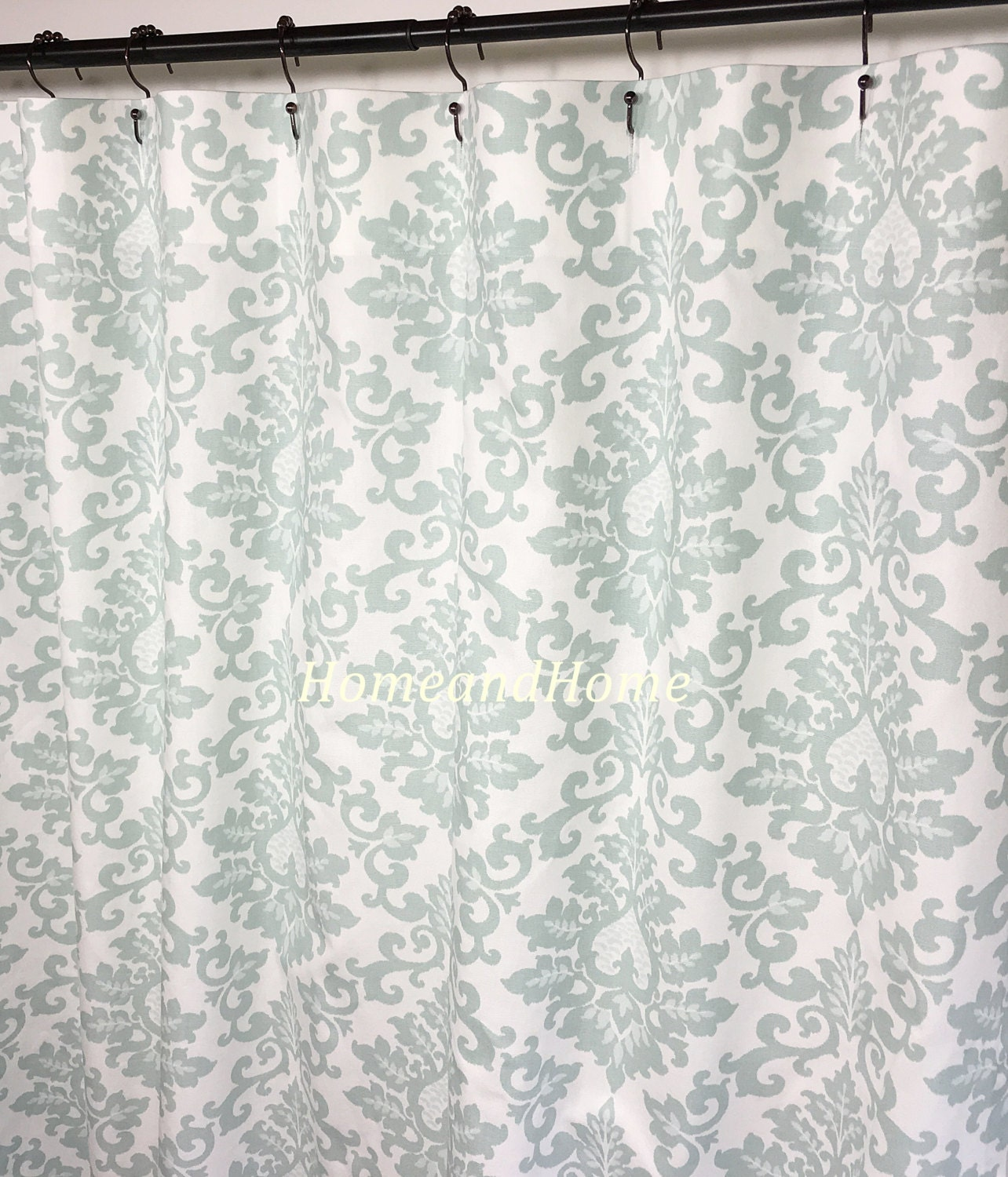 Fabric Shower Curtain Custom Shower Curtain Cecilia Snowy Gray