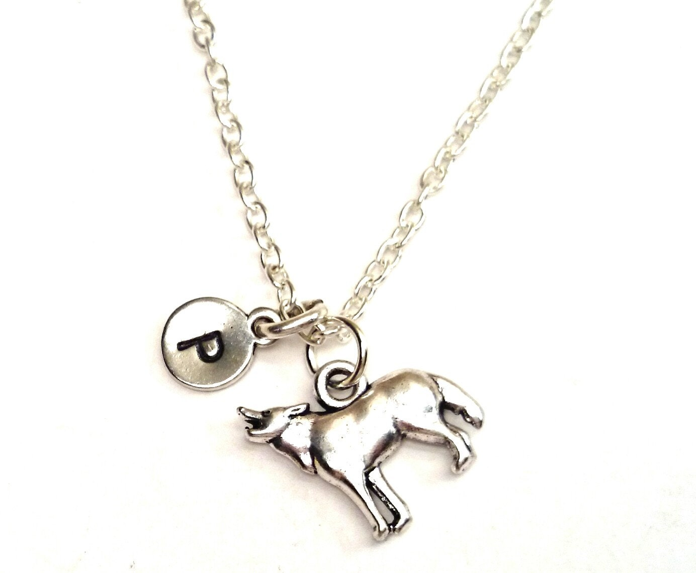 wolf necklace wolf charm wolf pendant wolf by