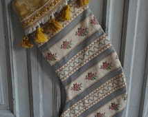 Christmas stocking, handmade vintage French fabrics, gold tassels,antique chateau chic sock, unique gift, stocking filler, blues and golds,