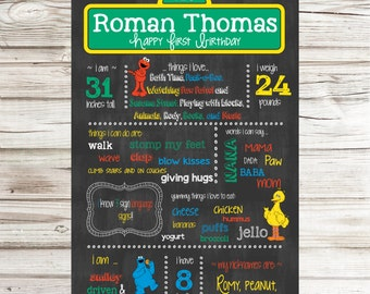 Sesame Street Chalkboard Sign - Personalized and Printable