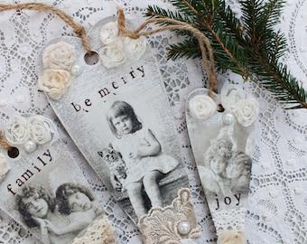 3 Christmas ornaments Hanging hearts Set of 3 Christmas decor Joy Christmas Family ornaments Shabby Christmas tree ornaments Rustic holiday