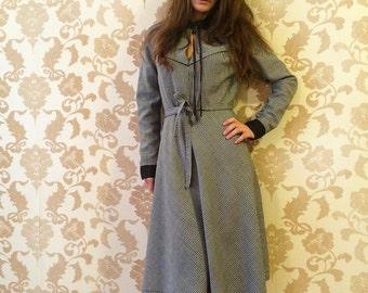 Vintage Soviet Dress - Vintage Middle Dress - Checked Dress - Soviet Wool Dress - Vintage Gray Dress - USSR Dress - Vintage Fashion - Soviet