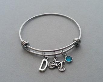 Bike Charm Bracelet, Bike Bracelet, Bicycle Charm, Bicycle Bracelet, Bike Bangle, Biker Charm, Initial Charm, Birthstone, Stainless Steel