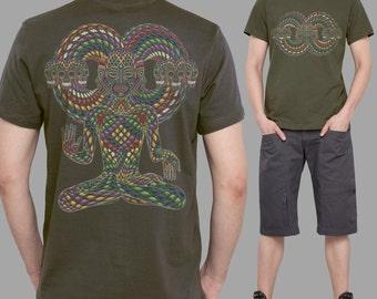 Olive Mens Tshirt, Infinity Shirt, Psy Clothing, Gift for Him, Cool T Shirt, Mens Tribal Shirt, Spiritual Shirts, Festival Clothing Men.