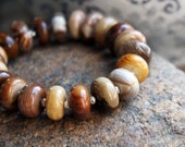Petrified Wood Stone Beaded Bracelet, Natural Fossilized Wood Beads and Sterling Silver