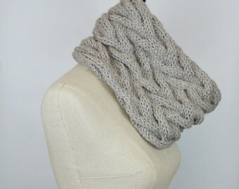 Tan Knit Cowl, Braided Scarf Cowl, Chunky Snood, Womens Knitted Cowl Scarf, Cable Short infinity Scarf, Chunky Cowl Scarf, Loop Scarf Cowl