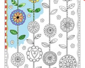 Coloring Cafe® Coloring Pages Download Set of 4 Flowers Printable Coloring Pages