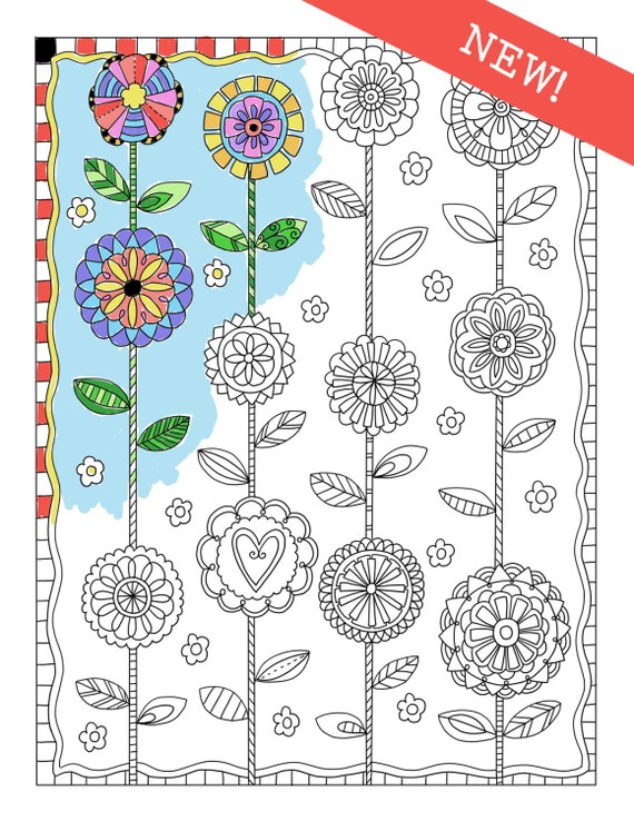 Coloring cafe coloring pages download set of 4 flowers Coloring book cafe
