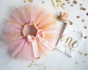 First Birthday Outfit Girl, Pink and Glitter Gold,  1st Smash Cake Party, Personalized, Birthday Tutu
