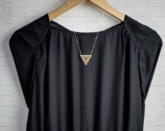 Triangle necklace, gold triangular pendant, geometric necklace, triangle pendant, unique necklace, gift under 50, 14K gold, gift for her.