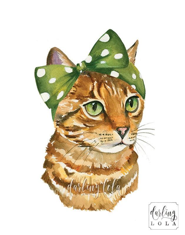 Cat Watercolor Print Tabby Cat Retro Cat Cat Art Pin