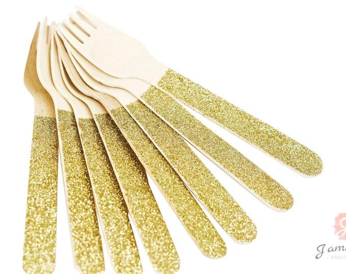 Gold Glitter Wooden Fork, Gold Glitter Silverware, Gold Glitter Wooden Utensils, Glitter Party, Wood Utensil, Glitter Fork