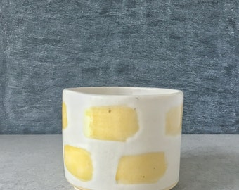 Handcrafted Yellow and White Planter