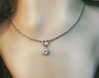 Minimalist Sweetheart Necklace w/ AUTHENTIC Swarovski Crystal Choker Day Collar Necklace Bohemian Alternative DDLG Discreet Sexy  Minimalist