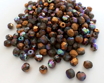 100 pcs 4mm Faceted Round Fire Polished Beads, Etched Crystal Glittery Bronze