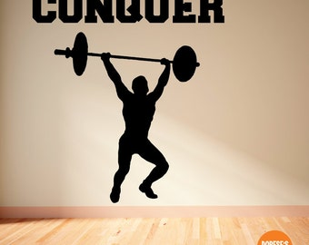 Motivational Exercise and Workout Vinyl Decals-- Conquer!  (For Crossfit, weight lifting, or gym)