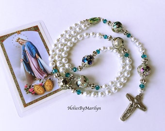 Our Lady of Grace White Rosary. Beautiful White and Blue-Green Catholic Rosary. Religious Gift.  Religious Mother's Gift. Holy Rosary #1R105