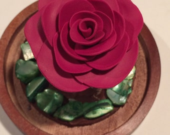 Dark red Rose in a glass dome, beauty and the Beast Rose, Beauty and the Beast wedding, Rose in Glass,Enchanted Rose, Magic Rose, Fairy Tale