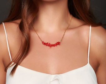 Coral Necklace - Red Coral Necklace -Coral Beaded Bar Necklace - Red Necklace  -  Bead Necklace- Coral Bridesmaids