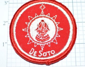 DeSoto - Sew-On Vintage Patch VERY RARE - Automobile Manufactured by Chrysler 1928-1961 Embroidered Clothing Patch- *ONLY 1 Available*  e17d