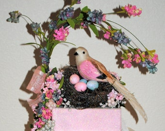 "Unique ""Bird in a Nest"" Large Gift Box, Centerpiece, One of a Kind Decorated Box, Bridal and Baby Shower, Mother's Day, Beautiful Birthday"