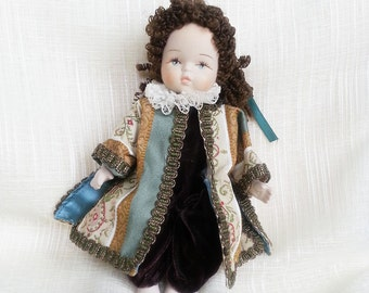 Vintage doll, beautiful doll, dressed  doll, china  doll,  souvenir doll, doll  with  curly hair,small doll,  doll, collectible doll