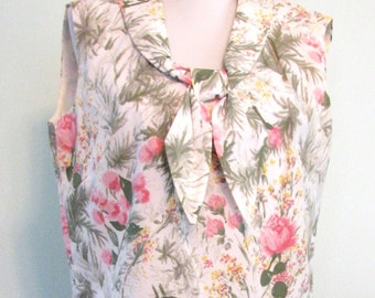 1960s Suit Pleats Harry Epstein Floral Pinks and Greens Mad Men