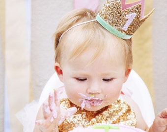 First Birthday Crown   1st Birthday Girl Outfit for Cake Smash   Baby Girl First Birthday Outfit   1st Birthday Hat   Gold Baby Pink Mint