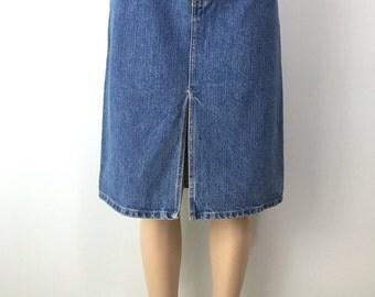 Gap Vintage Front Slit Jean Skirt, Knee Length, Medium Indigo Stonewash, Size 12